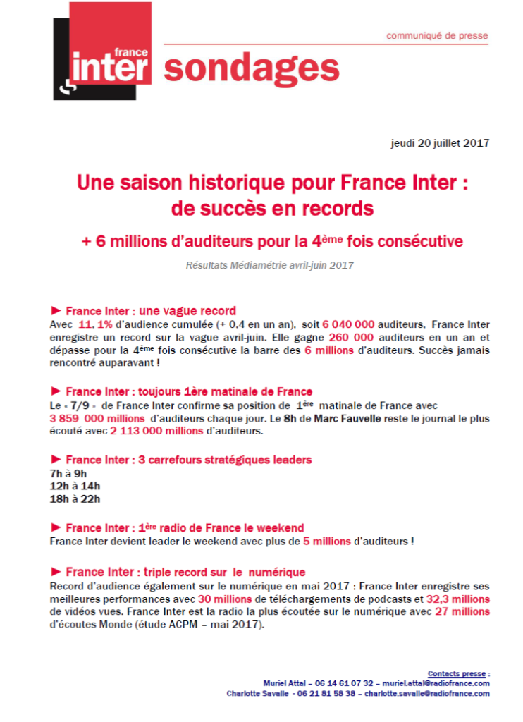 CP, France Inter, juillet 2017