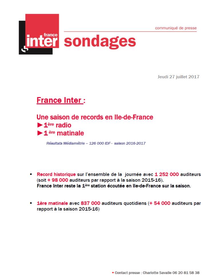 CP France Inter juillet 2017