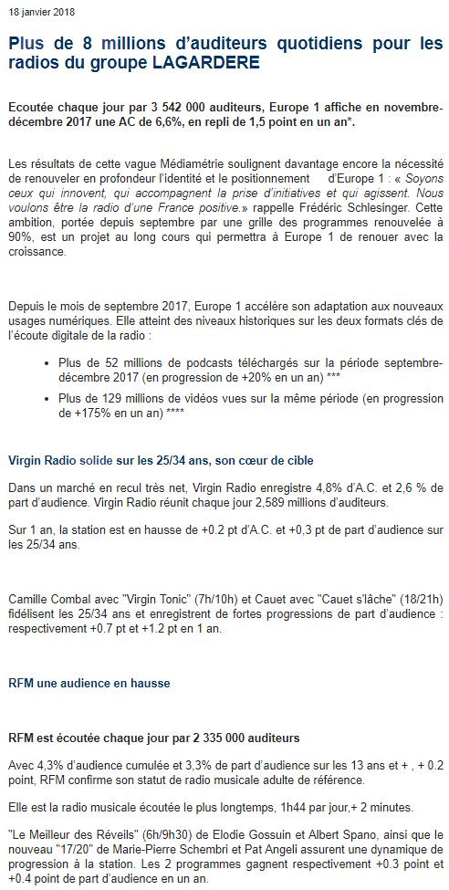 CP Groupe Lagardère, janvier 2018