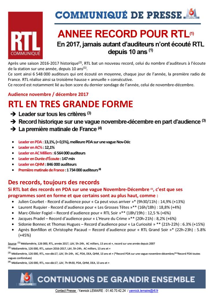 CP RTL, janvier 2018