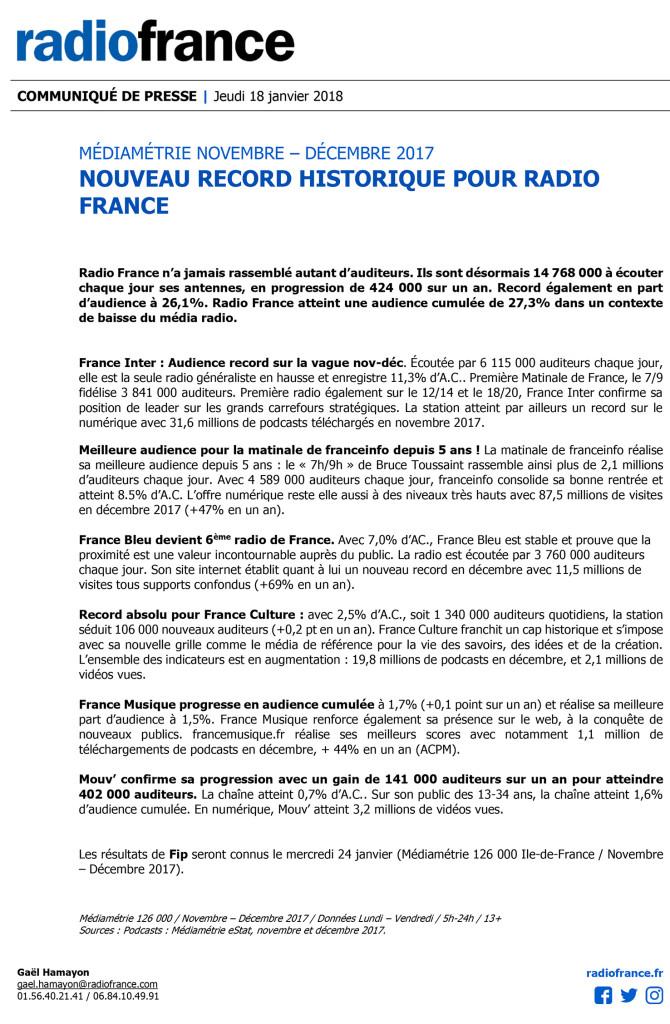 CP Radio France, janvier 2018
