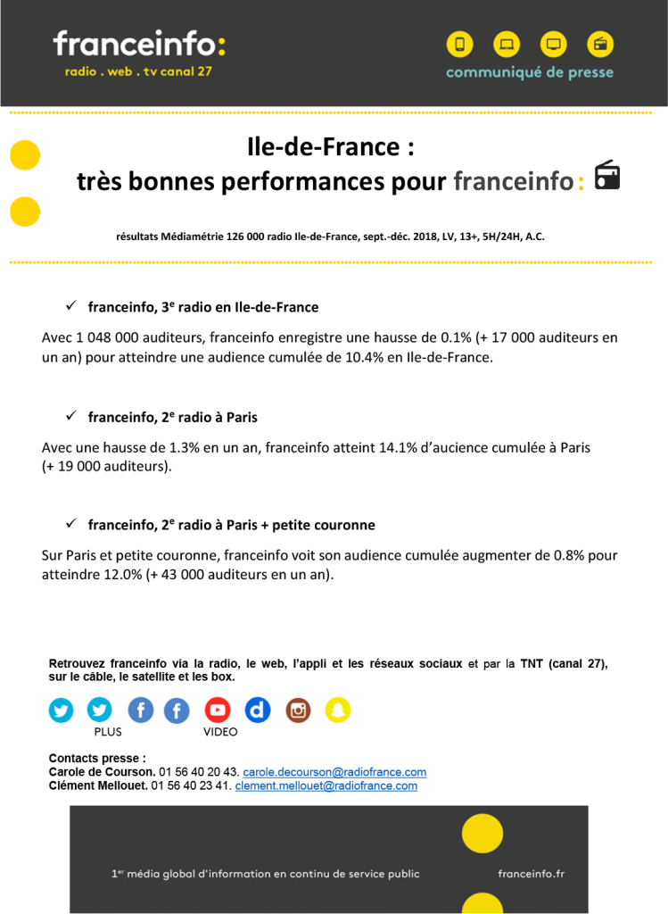 CP, France Info, janvier 2019